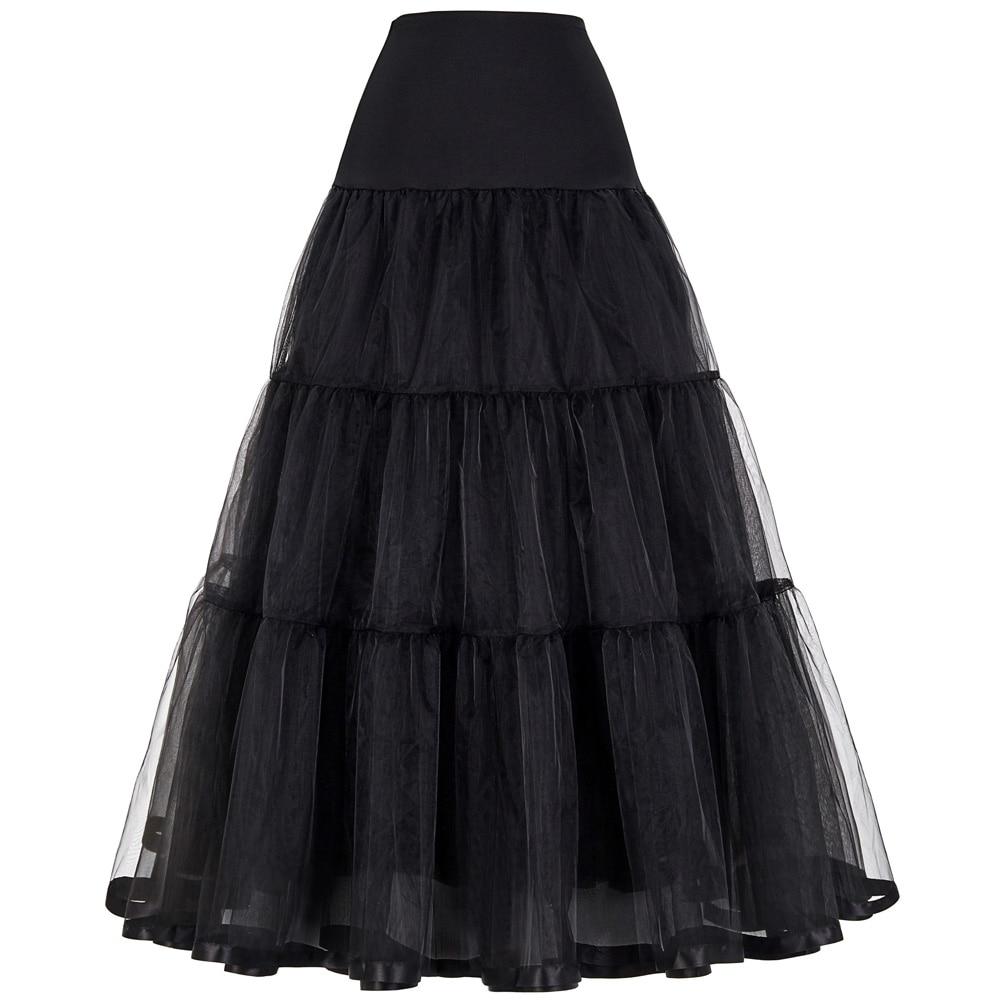 Tüll Röcke Womens Plissee langen Rock Faldas schwarz Braut Hochzeit Petticoat Midi 2018 Tutu Rock Saia Longa Vintage Maxi Röcke