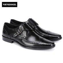 Пряжка острый носок мужские Пояса из натуральной кожи Мужская официальная обувь осень новая мода Британский Винтаж Лидер продаж Chaussures Hommes EN Cuir