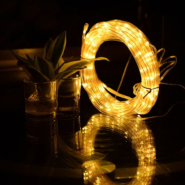 Fairy Lights Led Rope Battery Operated String Waterproof With Remote Timer For Outdoor Indoor Garden Decoration