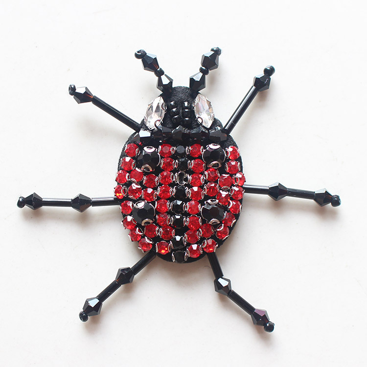 3pcs red beaded diamond ladybird bug animal garment accessories fashion clothes decorative beaded applique patches for clothing