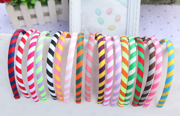 100pcs Boutique two tone grosgrain ribbon fully lined winding hair bands hair Accessories Basic head bands