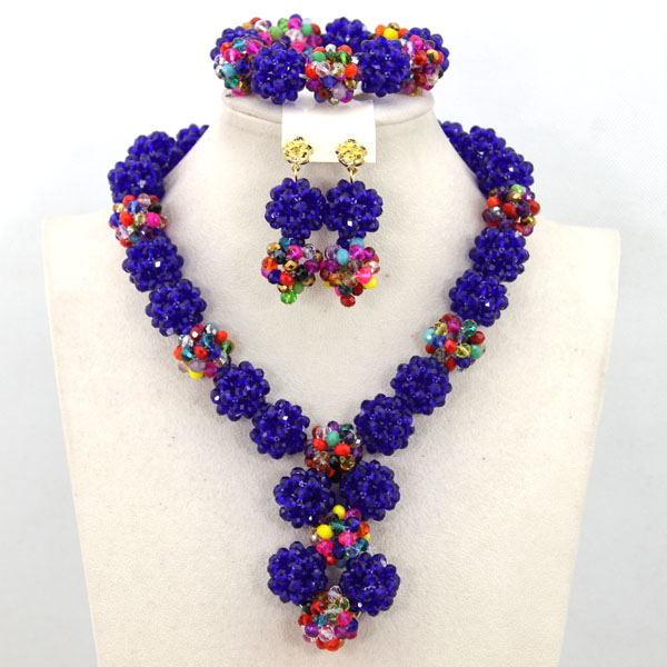 Colorful Crystal African Beads Jewelry Set Hot Selling Nigerian Beads Fashion Jewelry Set Free Shipping QW904
