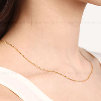 Pure 999 24k Yellow Gold 1.0 mm Star Link Chain Necklace 16.5