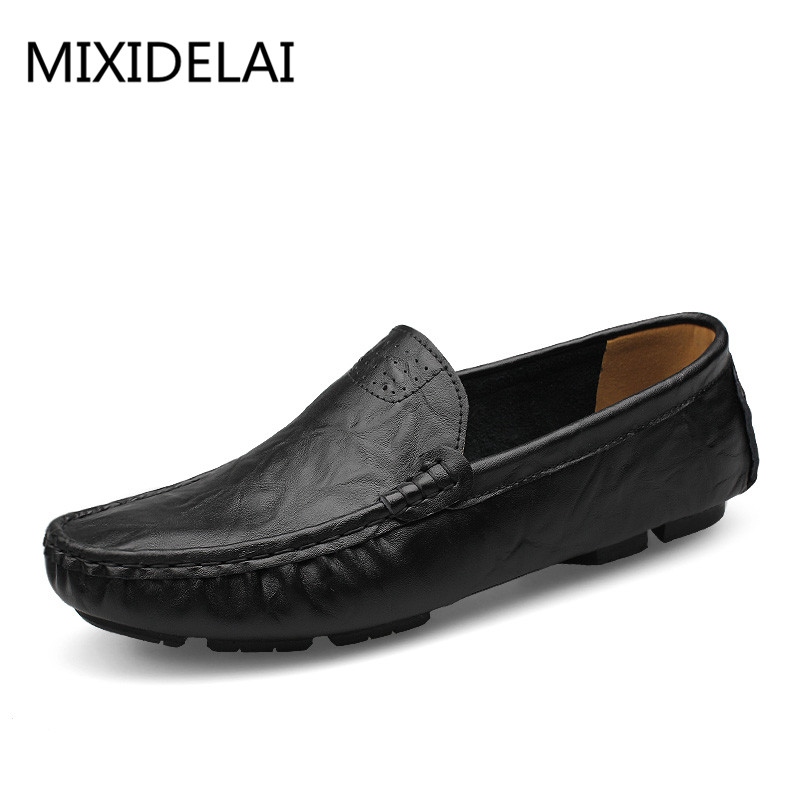 MIXIDELAI Soft Leather Men Loafers New Handmade Casual Shoes Men Moccasins For Men Leather Flat Shoes Big Size 36-50 Fashion