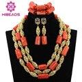 Últimas Nuevas Mujeres Collar de Coral Conjuntos de La Boda Joyería de Traje Africana Establecer ABL122 Dubai Chapado En Oro de Joyería Fija El Envío Libre
