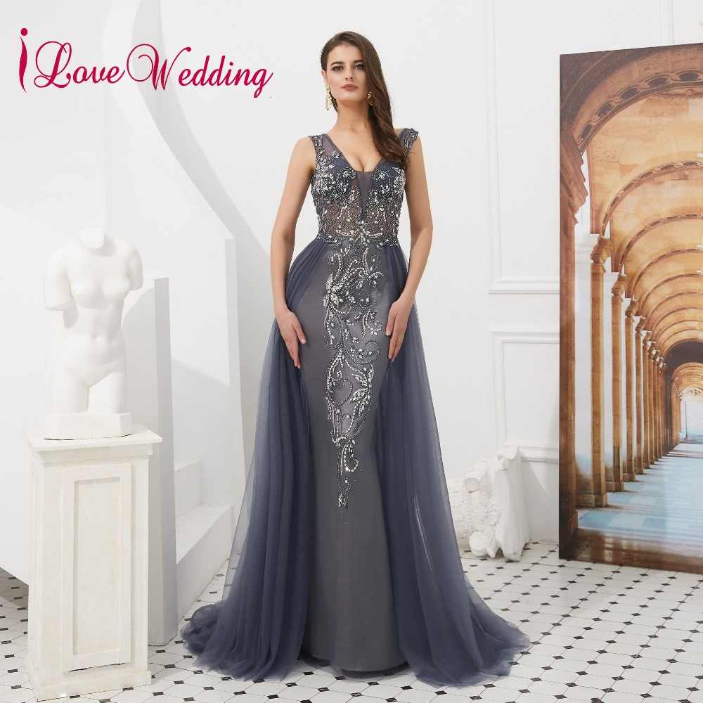 2019 V-neck Luxury Evening Dress Beaded Grey Tulle Dress Backless Sleeveless Long Formal Dress Women Elegant Robe De Soiree