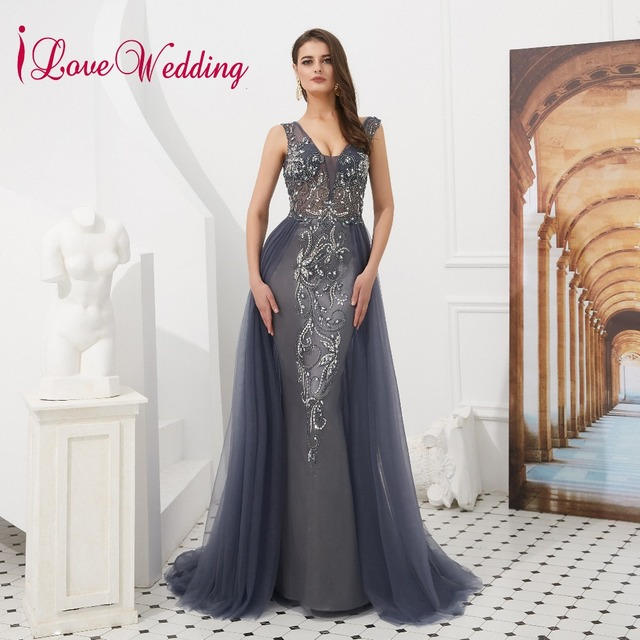 75a023e64579 New Arrival 2019 V-neck Luxury Evening Dress Beading Grey Tulle Backless Cheap  Sleeveless Long Formal Dress Robe De Soiree