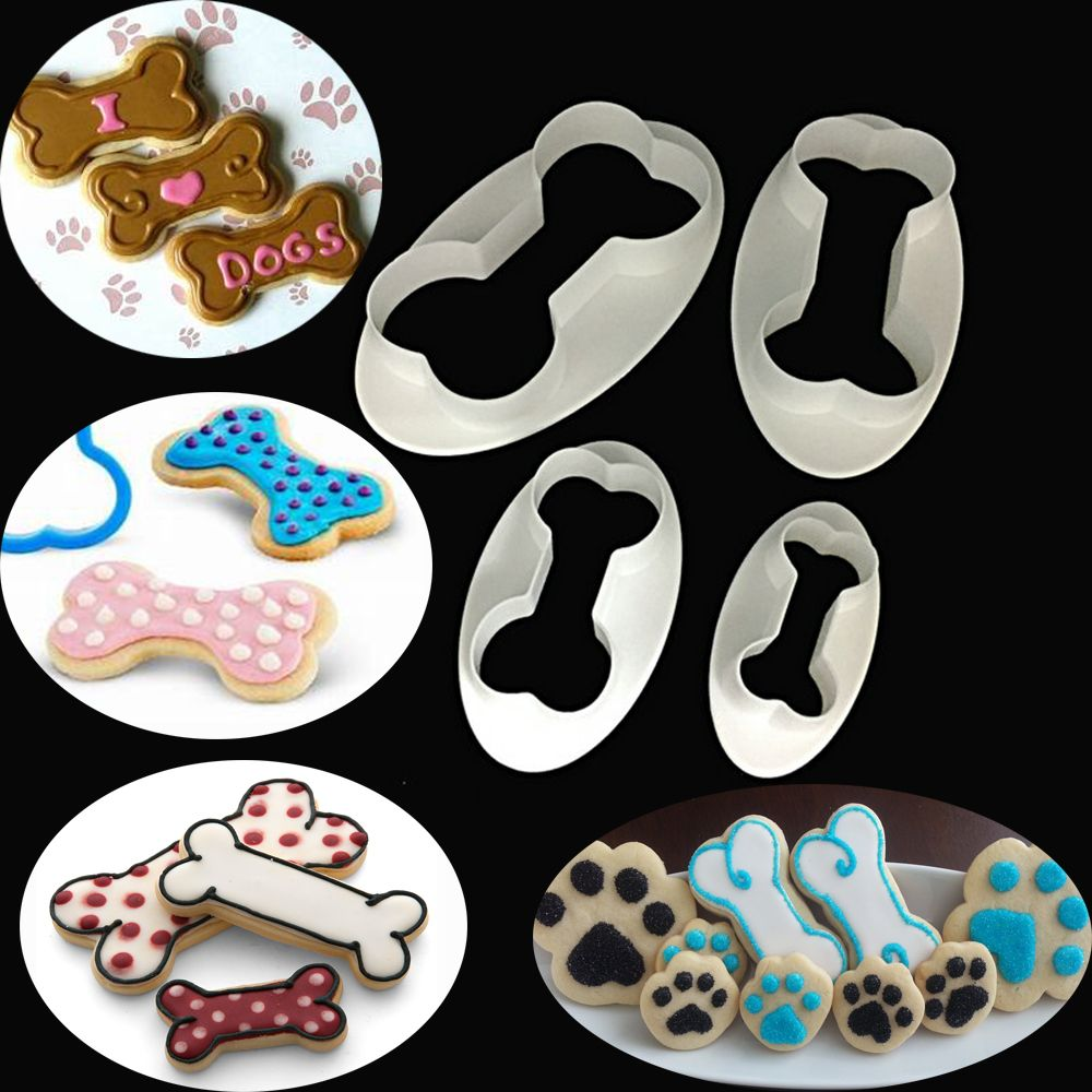 4PCS Dog Bone Cookie Cutter Biscuit Fondant Pastry Baking Cake Mold  Biscuit Mold