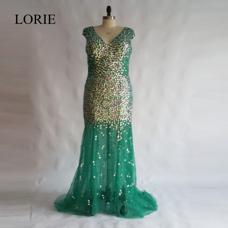 Bling Mermaid   Prom     Dresses   2018 Robe de soiree Rhinestones Emerald Green Long Evening Gowns Women Formal Party   Dress   Plus Size