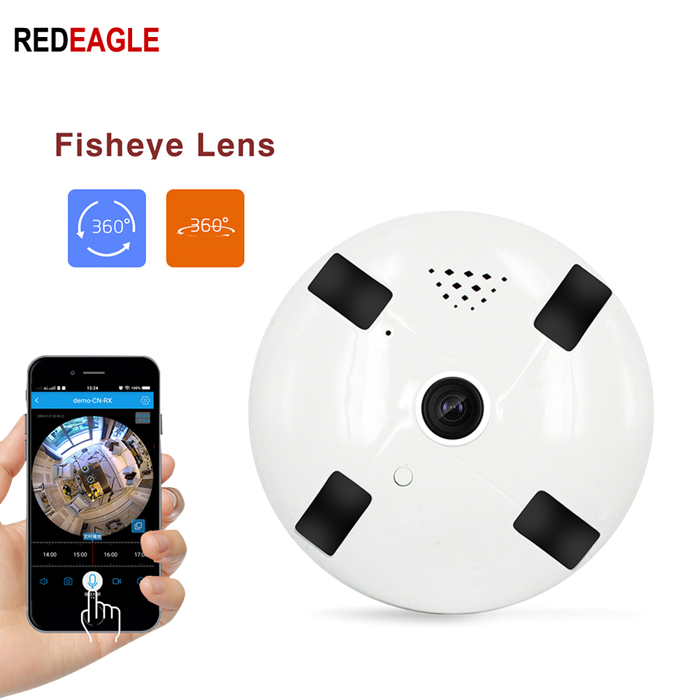 REDEAGLE 360 Degree Wireless Camera 1080P 3D VR WIFI Camera Panoramic Dome Security Cameras with TF Card Slot title=