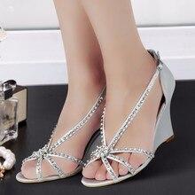 Free shipping MC-023 Size 41 Silver Open Toe T-strap Rhinestones Wedges heels Woman sandals Summer Bride Wedding Bridal Shoes