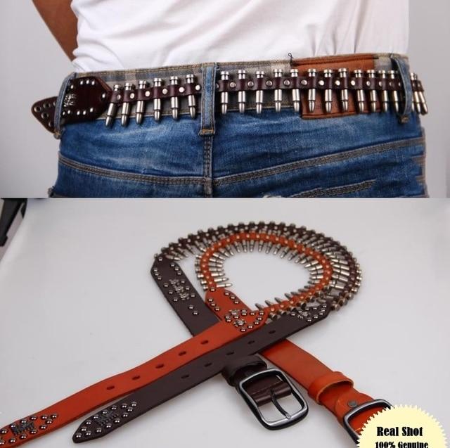 Cinturón de cuero genuino hombres bala del remache para los hombres Punk  Rock cinturón equipo del 2fef6cd23cb2