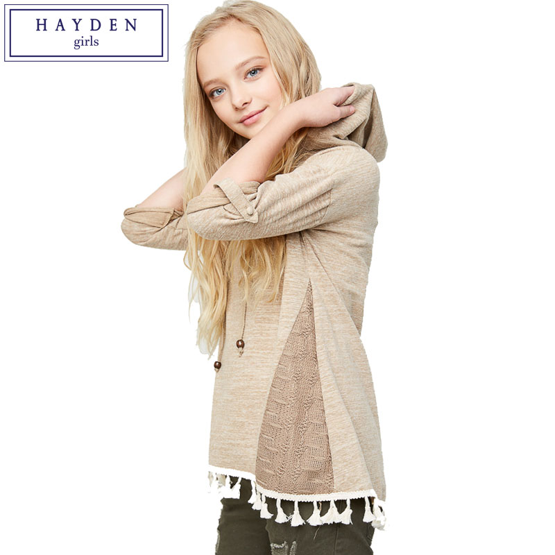 HAYDEN Girls Blouse Designs Teenage Girl Shirts Hoodies Fringe Tassel Top 100 Cotton Blouses Kids Brand Clothes Children Tops