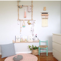 2018 New INS Kids Baby Wooden Print Wall Clothes Drying Rack Hanger Shelf Kids Baby Room On Wall Decorative Frame Home Cabinets