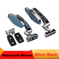 CNC Motorcycle Mirrors Silver Moto Bike Rear View Mirrors For Honda CB250 VTR1000 CBR600 Yamaha WR250R