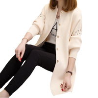 Women S Long Cardigan 2017 Autumn Winter Bead Knitted Sweaters Outerwear Full Sleeve Casual Loose Female