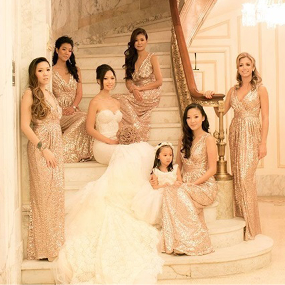 Gold sequined long elegant ruffle bridesmaid dresses 2015 bling gold sequined long elegant ruffle bridesmaid dresses 2015 bling floor length prom party dresses vestido de festa gowns bmd177 in bridesmaid dresses from ombrellifo Image collections