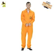 Nova Moda Homens Traje Do Prisioneiro Convict Laranja Outfit Adulto  Engraçado Halloween Fantasia Vestido de Fantasia para Festa . b5bbf80880b