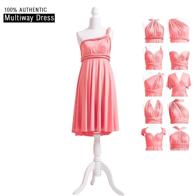 09d1cd39e995 Coral Pink Bridesmaid Dress Short Infinity Dress Convertible MultiWay Dress  Twist Wrap Dress With One Shoulder Sweetheart Styles