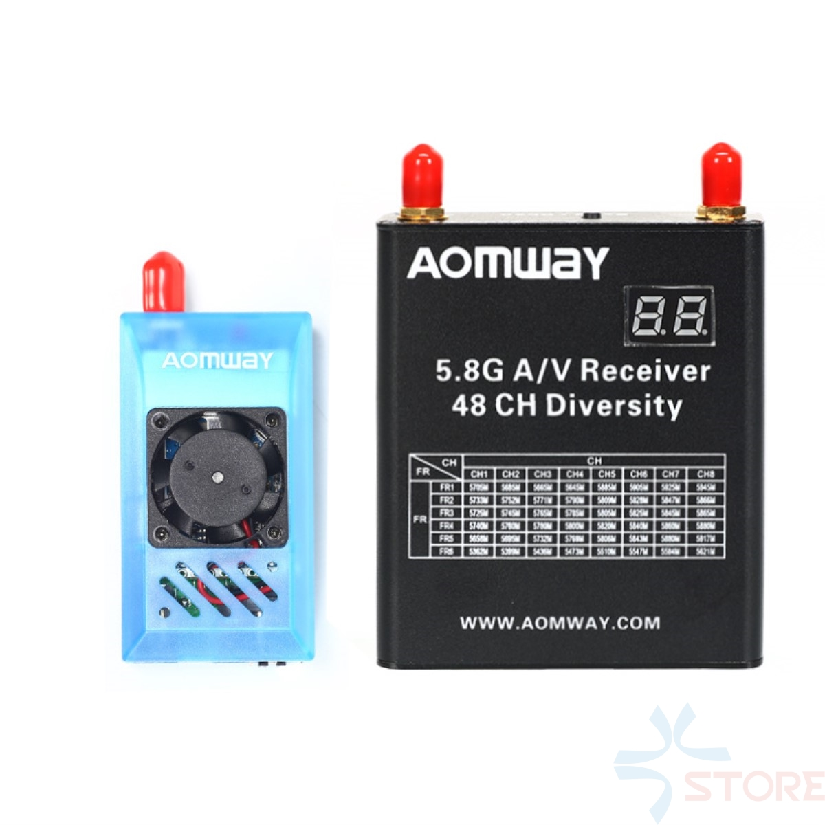 Aomway 5.8Ghz 1W 1000mW 32CH AV Audio Video Transmitter and Receiver w/DVR Recorder function for FPV