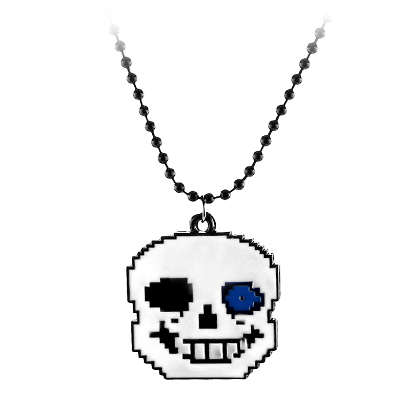 Game Undertale Pendant Necklace for Women Anime Pixels Cosplay of Frisk Jewelry Long Link Chain Gifts for Girls Kids Wholesale