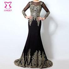 Corzzet Longue Robe De Soriee Real Dubai Kaftan Negro Manga Larga de La Sirena 2016 Vestidos de Noche Formales de China