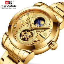 TEVISE Men's Watches Dragon Skeleton Aut