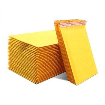 100 Uds antipresión embalaje bolsas de mensajería amarillo kraft burbuja sobres bolsas de correo a prueba de golpes