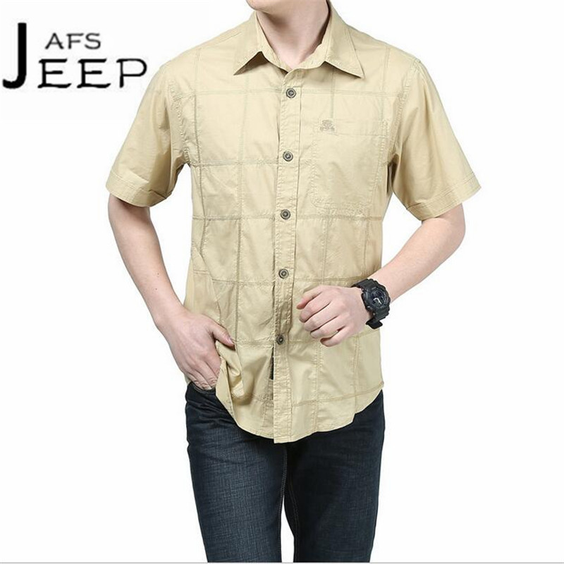 JI PU Fashion Design Summer Mid Age Man Short Sleeve Military Shirt,Plus Widen cotton made militar camisa a cuadros brand