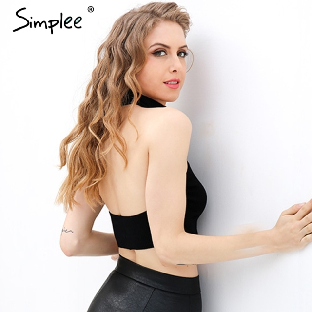 Simplee Summer beach black short halter top tees Elastic knitted bustier crop top Off shoulder backless women tank tops cami