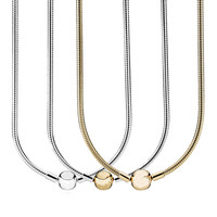 Golden & Silver Lobster Ball Clasp Snake Chain Necklace For Women Wedding Gift Pandora Jewelry 925 Sterling Silver Necklace