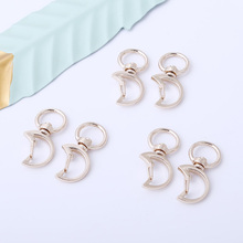 5Pcs Gold Rotating Moon Lobster Clasp Hook Keychain Metal Tag Quick Clips For Pet DIY Handmade