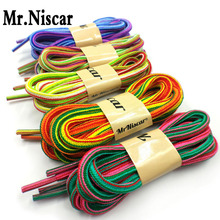 1 Pair 115cm Rainbow Striped Polyester Shoelaces New Design Square Hiking Sport Casual Sneaker Non Slip Rope Strong Shoe Laces