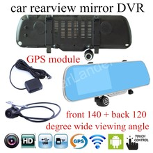 Best price touch screen DVR camera HD Rear view mirror car 5 inch LCD camcorder dual lens for android WIFI GPS navigation video recorder