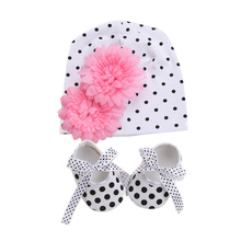 Newborn Photography Props Flower Baby Hat Dot Shoes Girls 2pcs Set;Cotton Baby Hats For Girls Shoes Baby Born Caps Fotografia