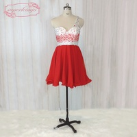 SuperKimJo Vestidos De 15 Anos Curto One Shoulder Beaded Red Homecoming Dresses Short Backless Sexy Cocktail
