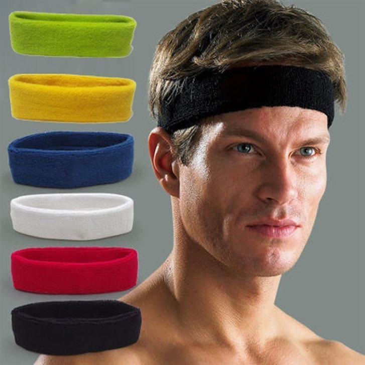 Unisex Women Men Fashion Cotton Sweat Sport Yoga Gym Sweatband Stretch  Headband Hair Accessories Head Sweat Bands Hair Band d2d1ef786b