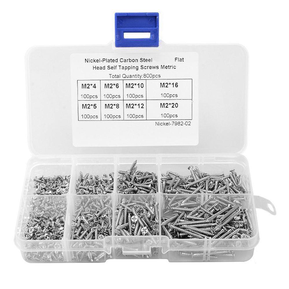 Retail 800Pcs M2 Stainless Steel Self Tapping Wood Screw Assortment Kit Lock Nut Wood Flat head Thread Nail Screw Fastener Sets цена 2017