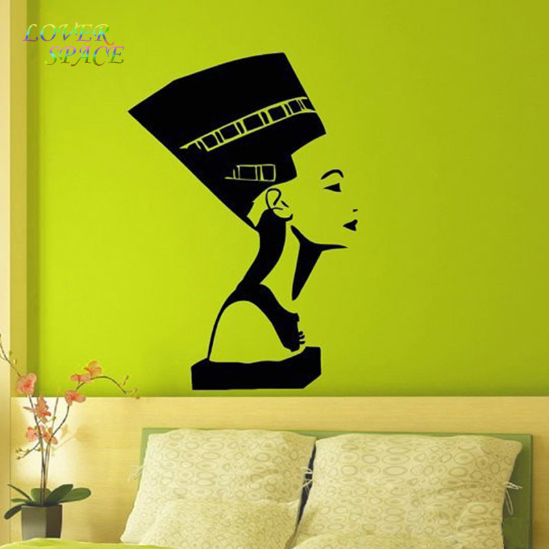 Ancient Egyptian Symbol Queen Nefertiti Interior Design Wall Decal Vinyl Sticker Bedroom Living Room Girls Wall Home Decor Black