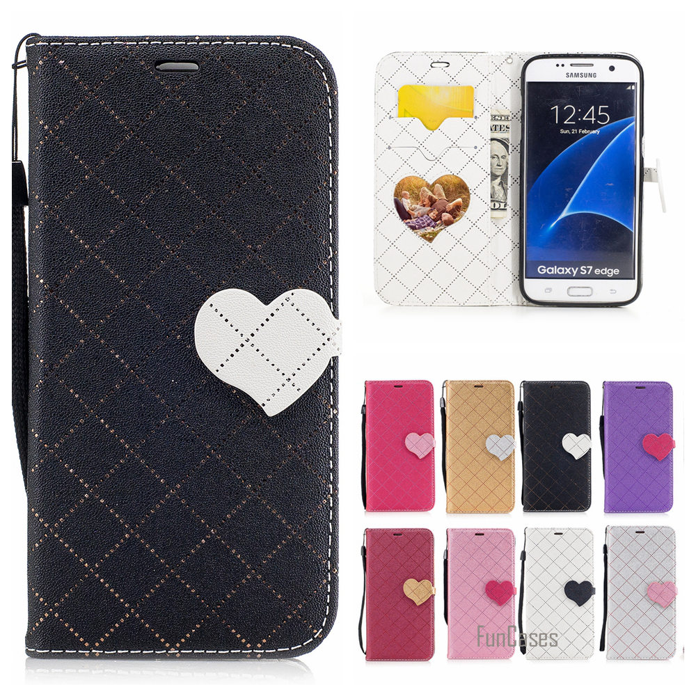 Lovely Twill PU Leather Case For Samsung Galaxy S7 Edge Flip Faux Cuir Cubierta For Samsung S7 EDGE G935 Coque Przypadek Celular