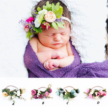 Girls Fabric Flower Headband Headwrap Elegant Crown Romantic Bridal Floral Boho Wedding Wreath Hairband
