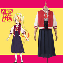 Horrible Anime ZOMBIE LAND SAGA Zonbii Ni-go Saki Nikaido Fancy Stage Girls Cosplay Costume Adult Women Jacket Tie Dress(China)