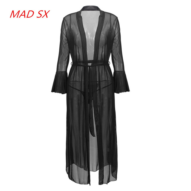 2017 Hot sales Sexy woman Long sleeves black Nightgowns Net yarn Transparent  Bathrobes Hot pajamas long Nightdress for women 5e9d6aa82