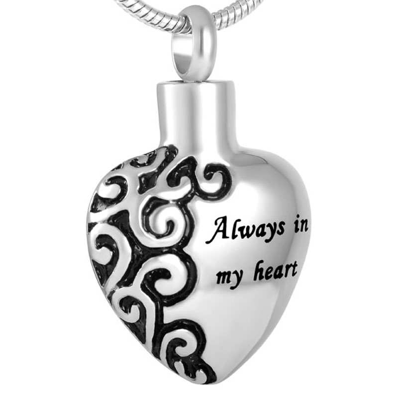 JJ2472 Always In My Heart Cremation Jewelry Hold Ashes Of