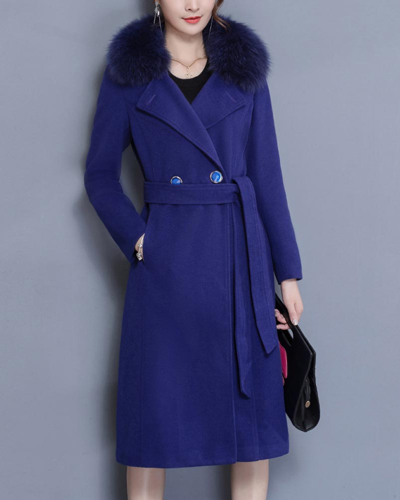Hitmebox 2018 Autumn Winter Women's Medium-long Slim Fit Woolen Blend Double Breasted Elegant Thick Furs Collar Trench Coats