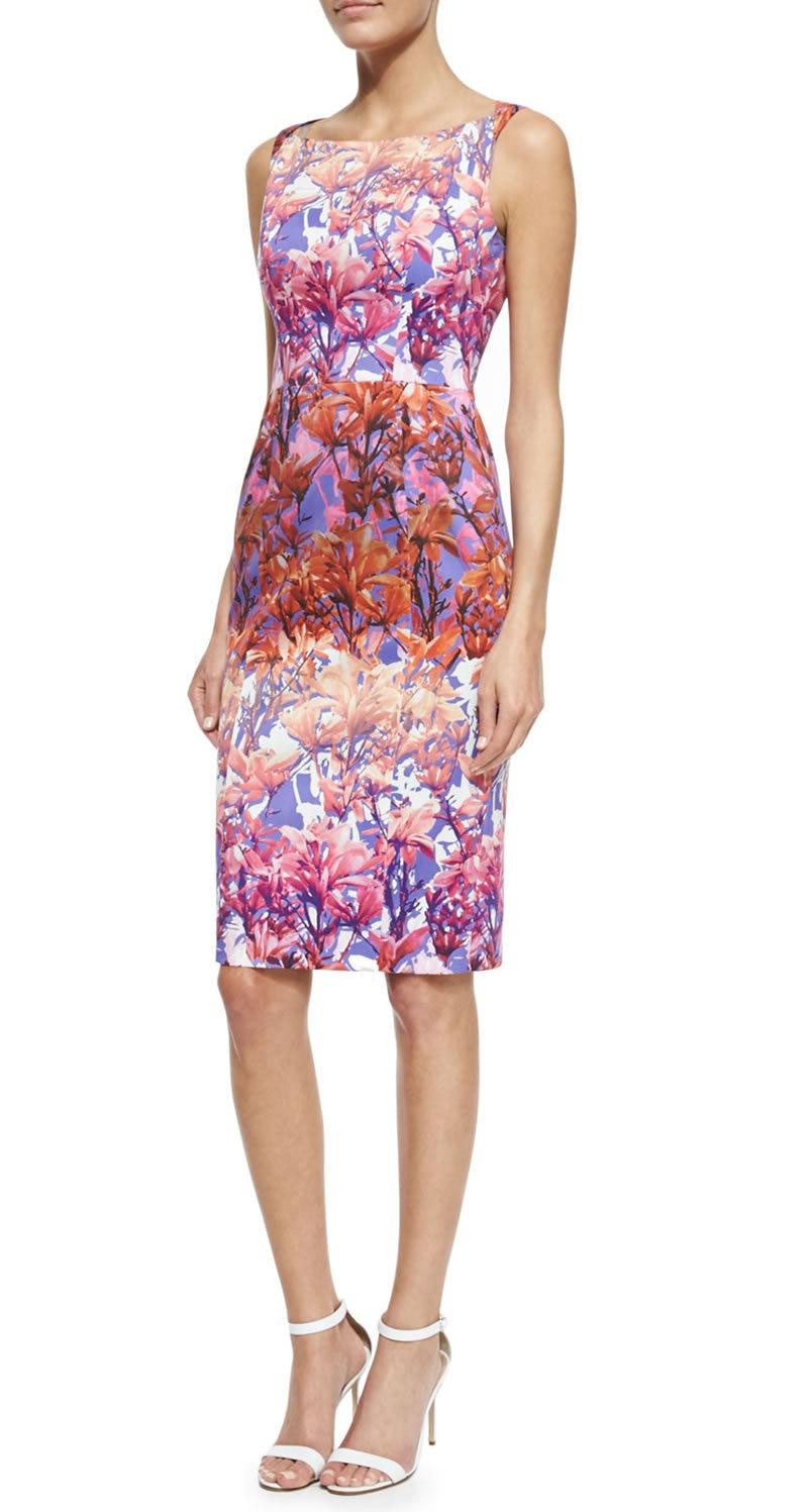 New Shanna Floral Print Sheath Dress Elegant Sleeveless Fuchsia Dresses