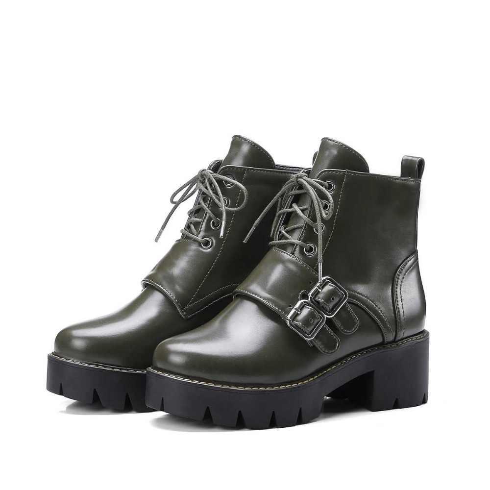 Lenkisen/ботинки в байкерском стиле из искусственной кожи на шнуровке; большие размеры однотонные ботильоны с круглым носком и пряжкой на среднем каблуке; L8f2