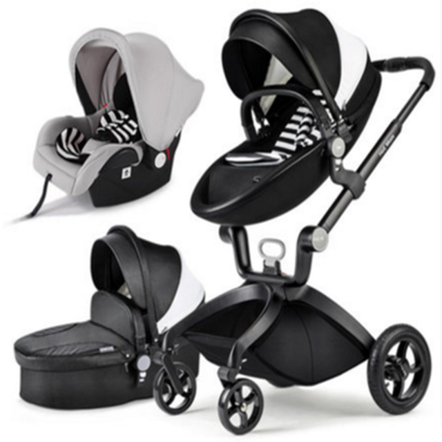 Baby Stroller 3 In 1 Car Seat High View Pram For Newborns Folding Carriage 360