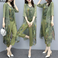 2019 Summer Green Printed 3 Piece Sets Women Plus Size Vest+cardigan+cropped Pants Suits Casual Elegant Korean Womens Sets Femme