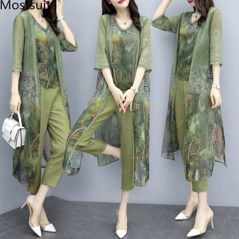 Summer Green Chiffon Printed 3 Piece Sets Women Plus Size Vest+cardigan+cropped Pants Suits Elegant Korean Womens Sets Femme